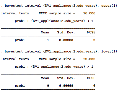 Bayesian Interval tests in a logit regression - Statalist