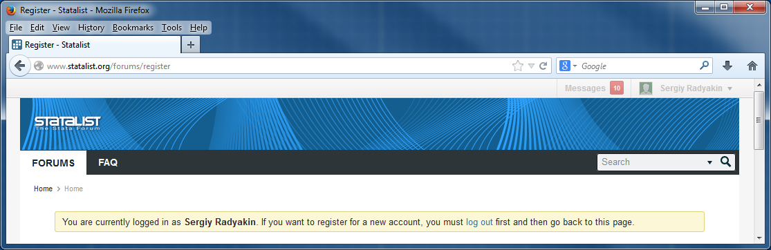 Login/Register link of the forum is disabled - Statalist